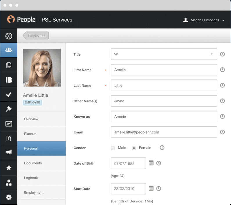 Employee Details in HR Software